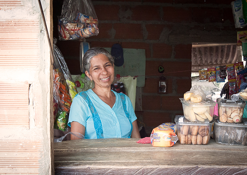 "Doña Sol Altamar and her store ""La Estrella,"" in Sitionuevo, Magdalena, Colombia."
