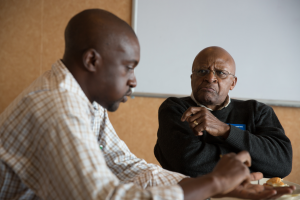 Tendekai from Solar Ear meets Archbishop Desmond Tutu