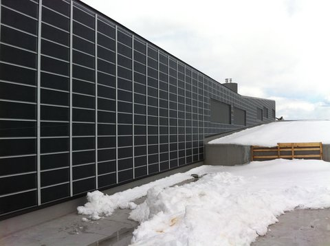A solar preheat ventilation system at the University of New Hampshire.Credit Matt O'Keefe