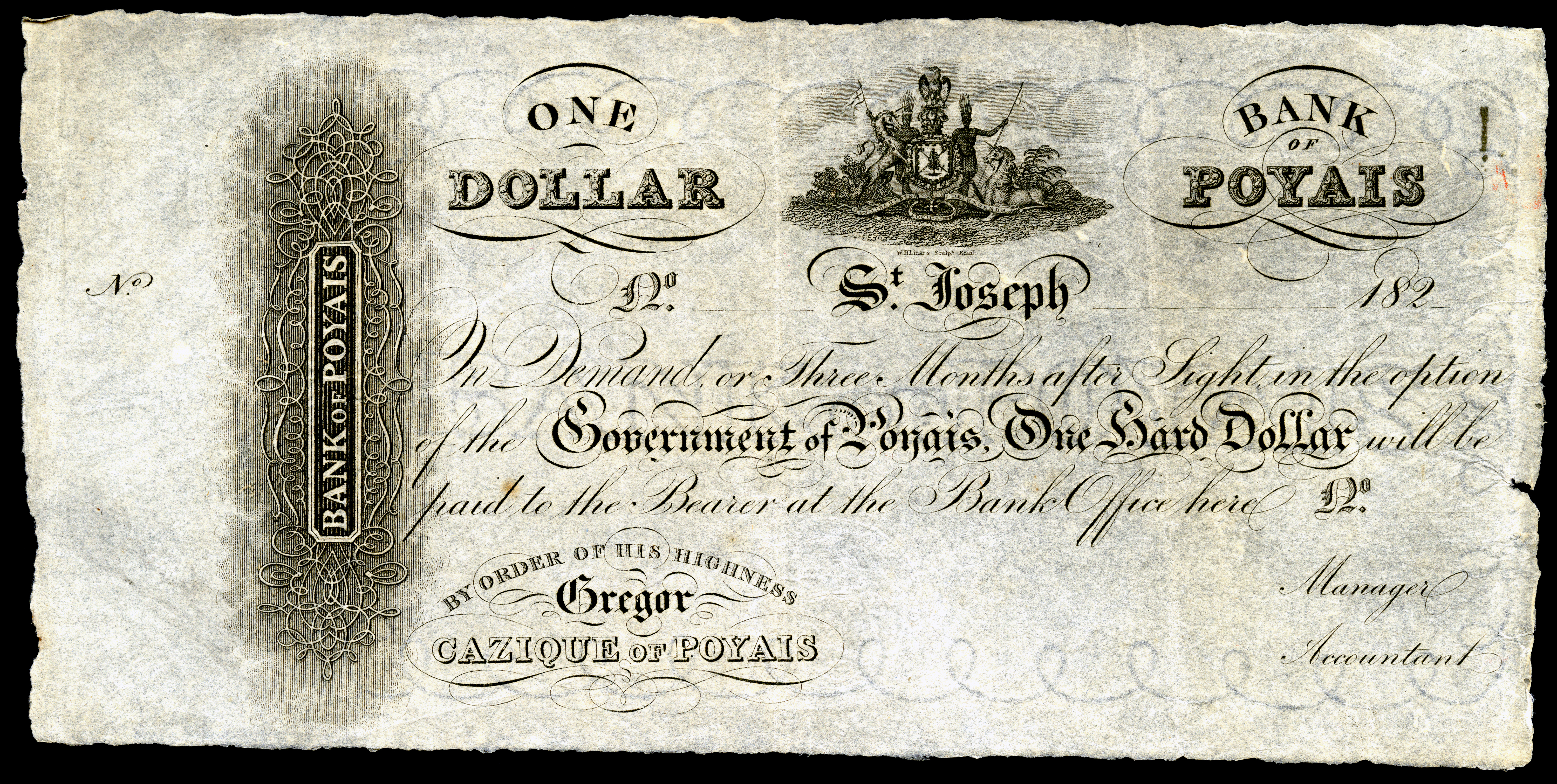 Fake currency that MacGregor drafted for the Bank of Poyais. Photo from Wikimedia Commons.